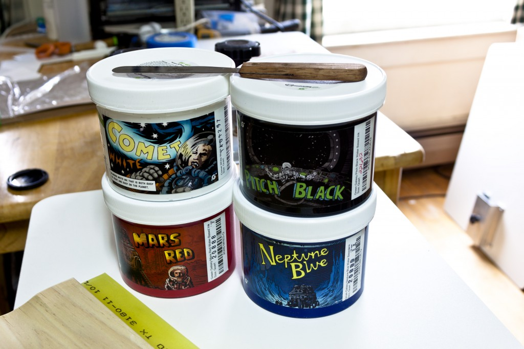 The first four Green Galaxy water-based screenprinting inks.